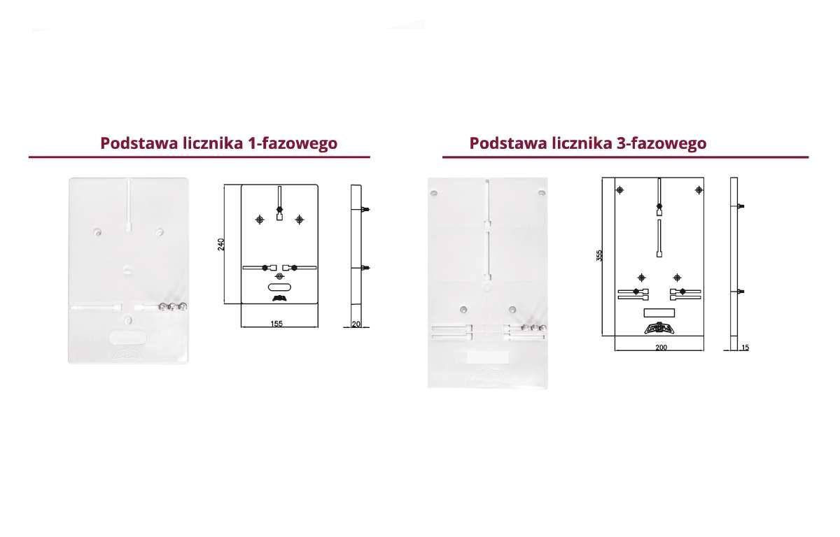 Podtsawy na licznik 1 lub 3 fazowy do rozdzielnic elektrycznych